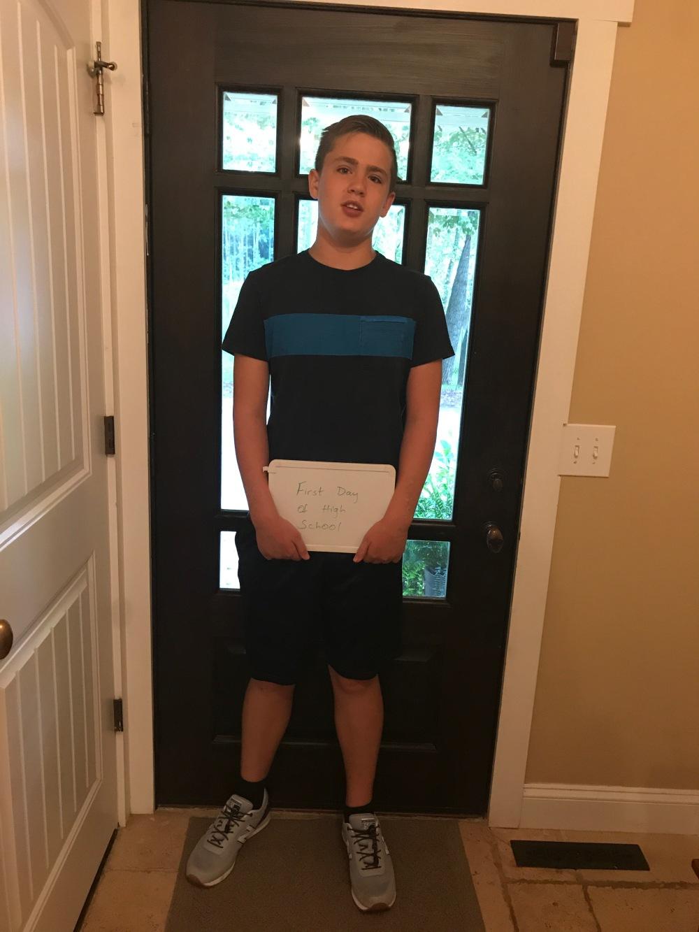 Benjamin first day of high school